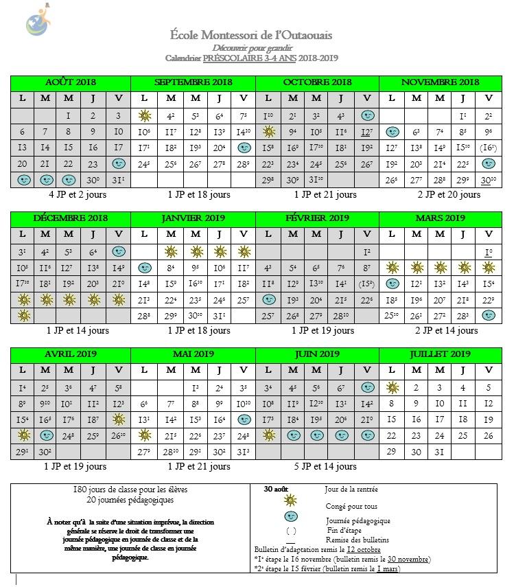 Calendrier-scolaire-2018-2019-préscolaire
