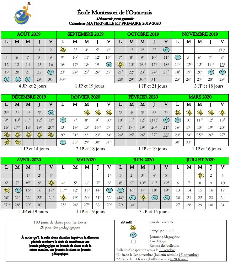 Calendrier Pour La Classe.Calendrier Scolaire 2019 2020 Maternelle Et Primaire Ecole