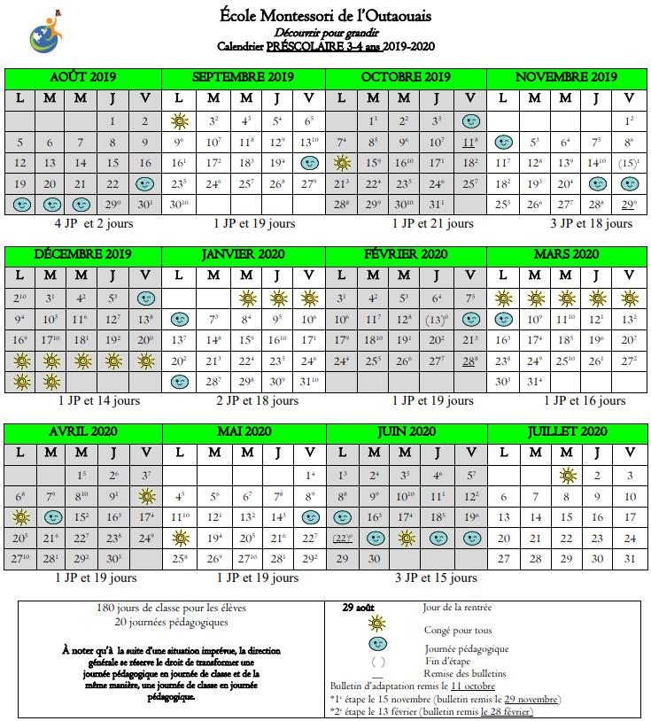 Calendrier Pro A 2020 2019.Calendrier Scolaire 2019 2020 Prescolaire Ecole Montessori