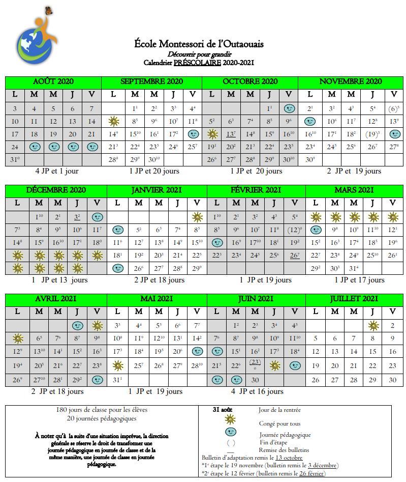 Calendrier scolaire 2020-2021 préscolaire