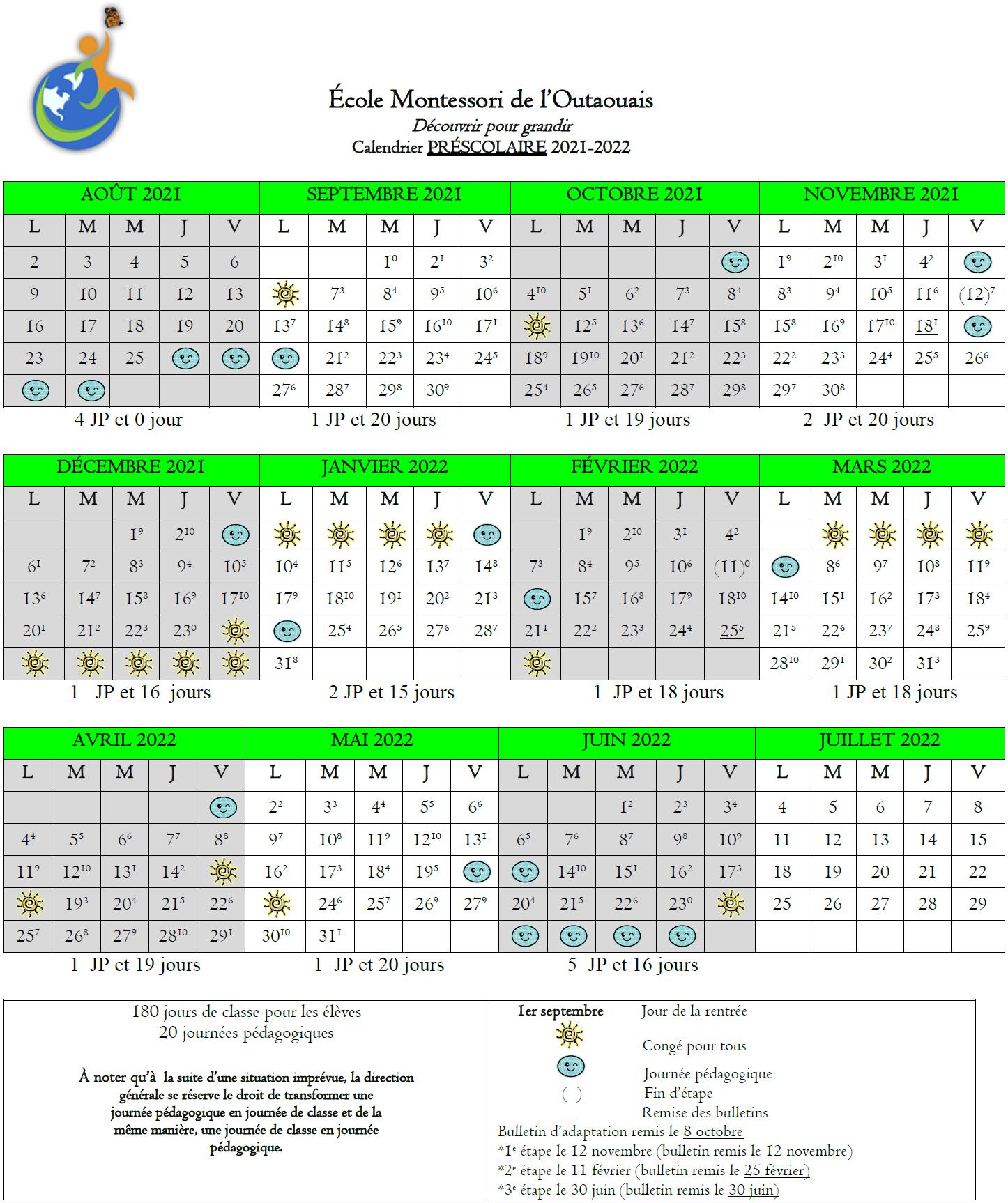 Calendrier scolaire 2021-2022 préscolaire
